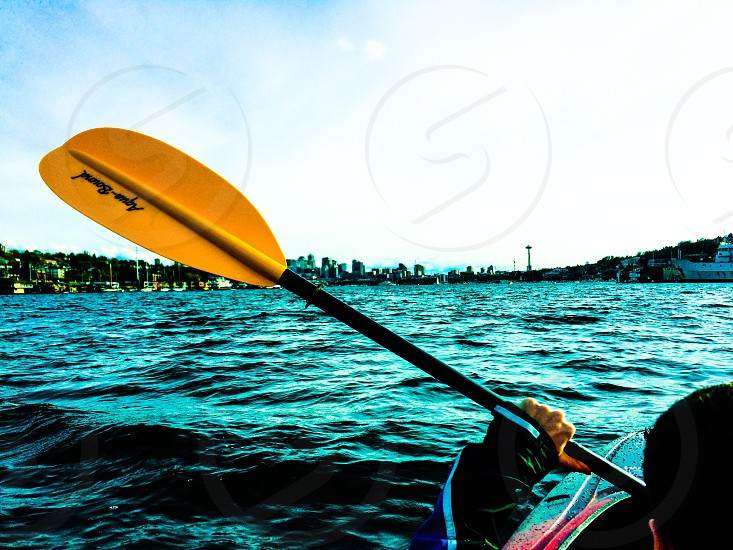 Tandem kayaking on Lake Union Seattle Washington.  photo