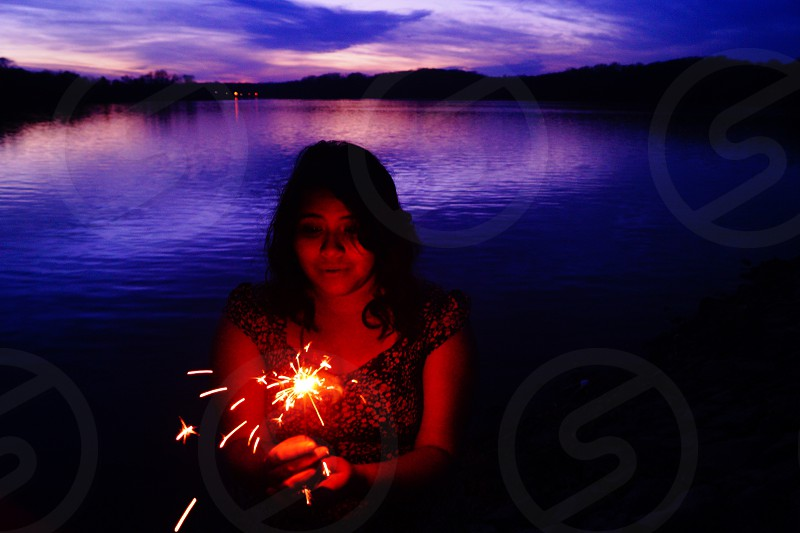Sparkler Sunset Lake photo