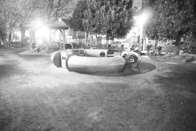 outdoor playground grayscale photography photo