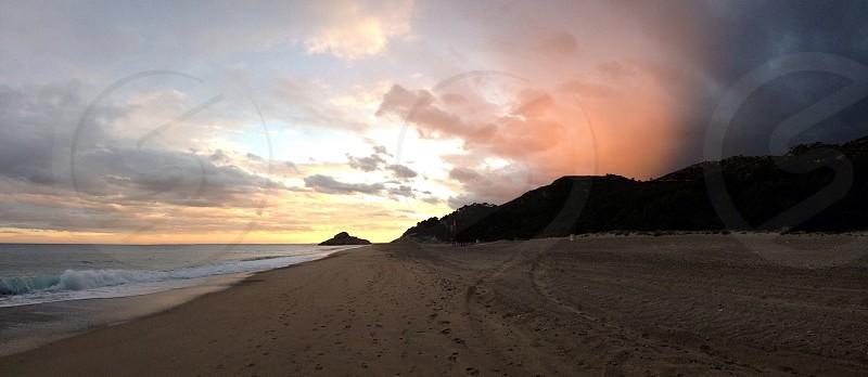 Sunset Beach Sea Sky  photo
