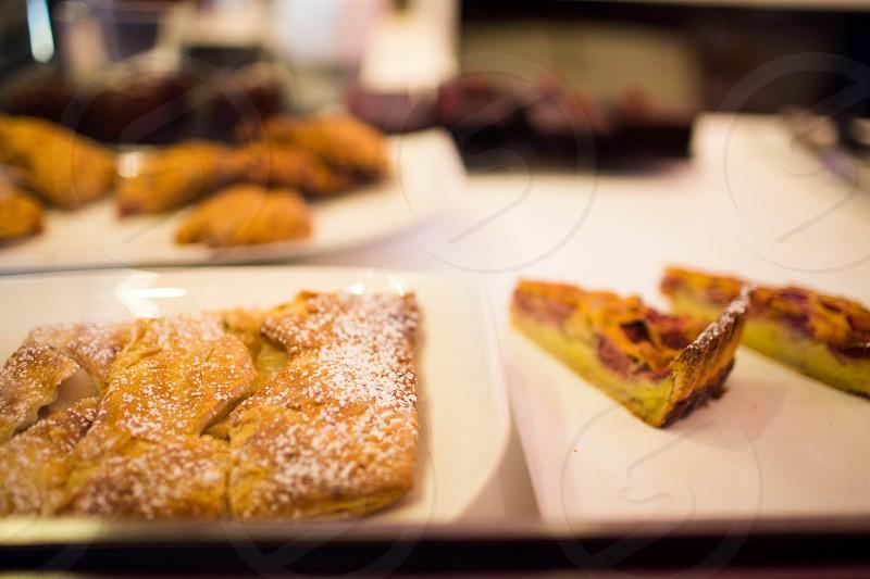 pastry on white rectangular tray photo
