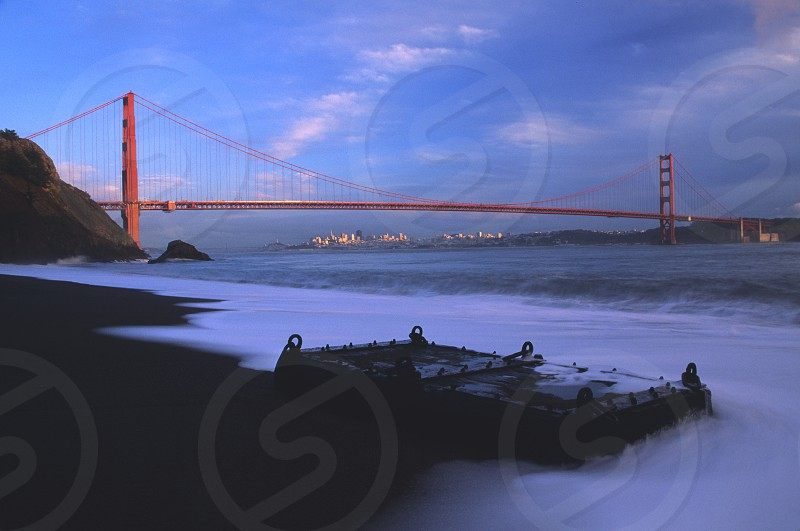 Golden Gate Bridge and San Francisco skyline from Marin Headlands photo
