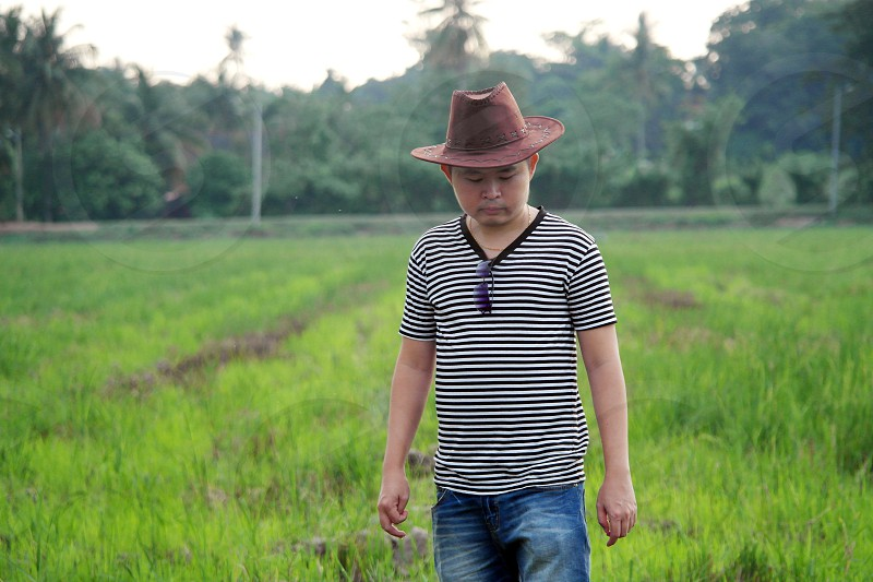 selective focus of man wearing white and black stripe shirt and brown cowboy hat standing on green grass field during daytime photo