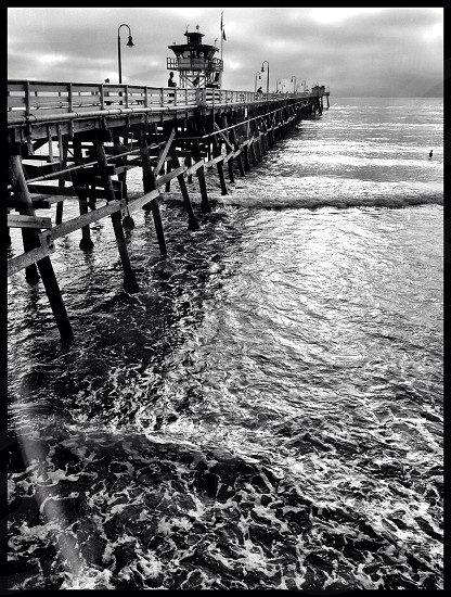 dock in the beach in grayscale photo