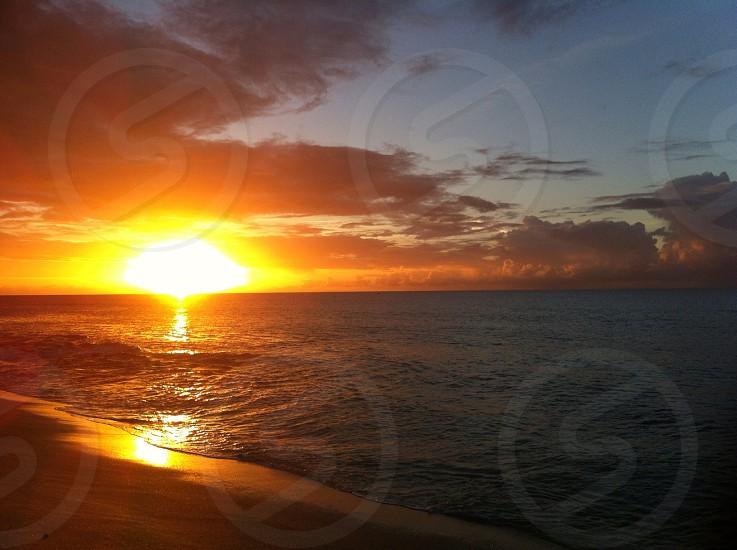 Sunset; ocean; island photo