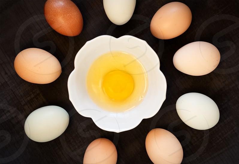Variety of free range organic eggs arrangement photo
