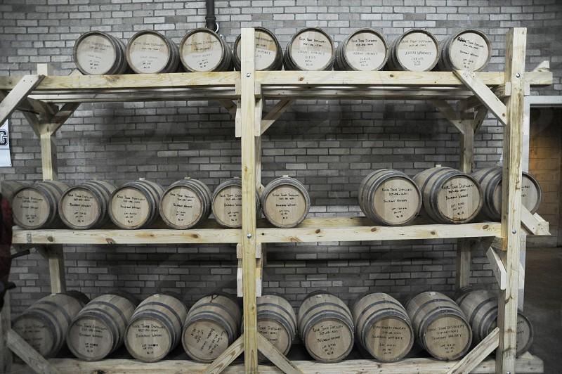 Barrels at distillery photo