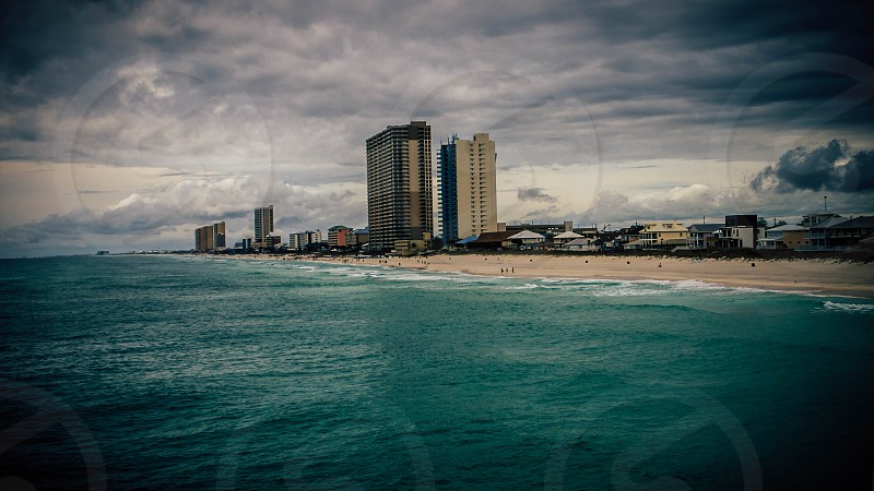 The beaches of Panama City on a moody cloudy day.  photo