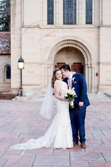 Couple getting married at beautiful chapel  photo