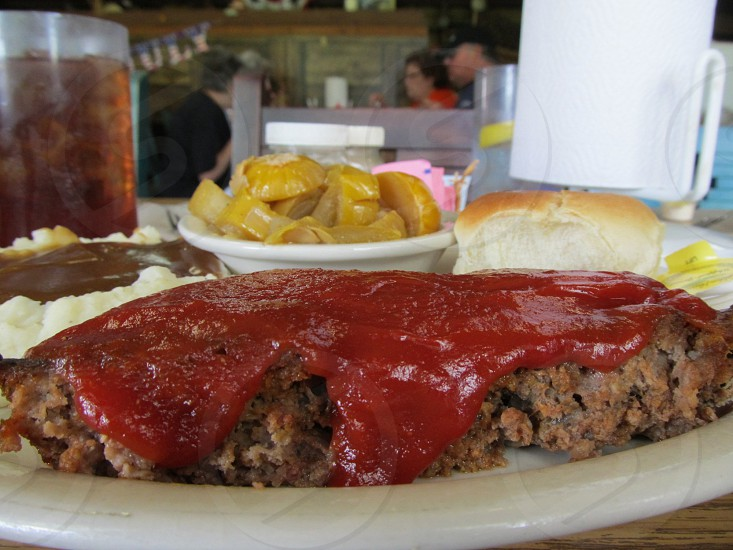Meatloaf plate lunch special photo