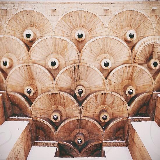 brown wooden art work photo