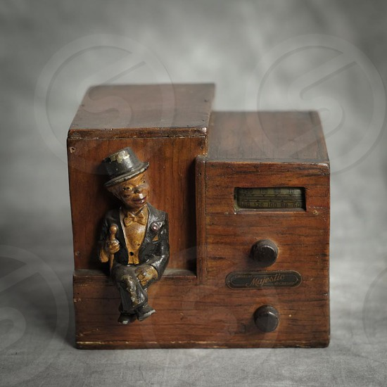 vintage radio with man figure photo