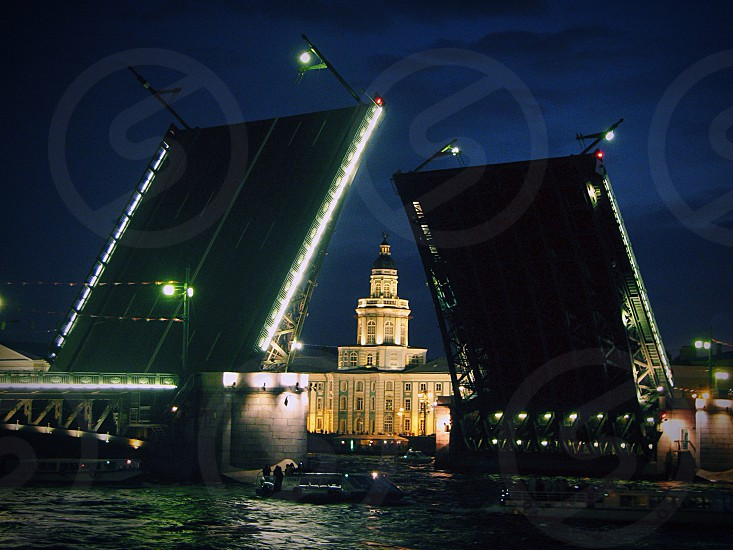 Russia Saint Petersburg bridge white night night water lights beautiful nice beauty urban city life  photo