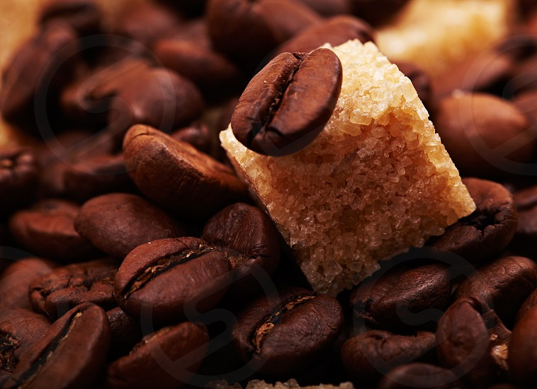 Coffee beans background with brown sugar cube. Natural morning sunlight. photo