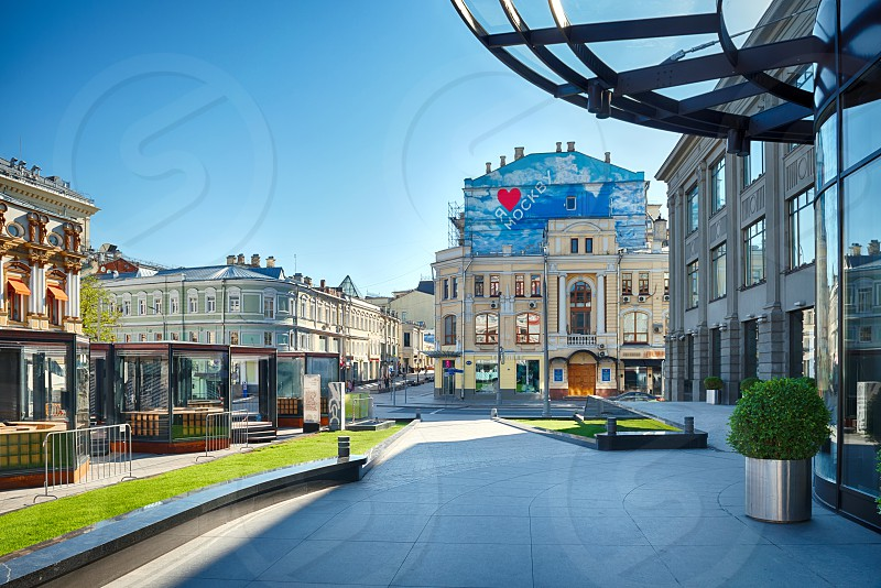 Kuznetsky Most street in Moscow. To the right there's entrance to TSUM store photo