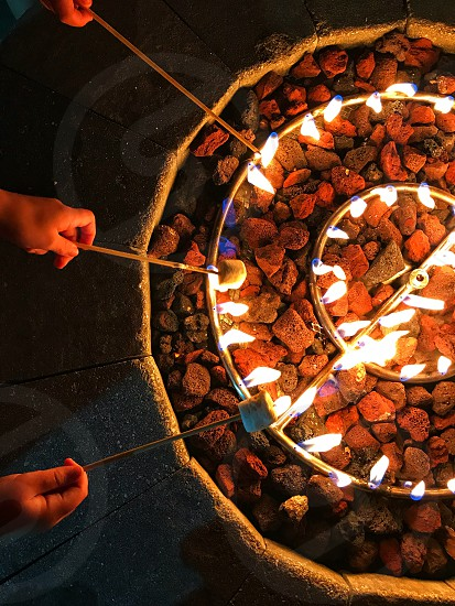 Winter fire pit s'mores  photo