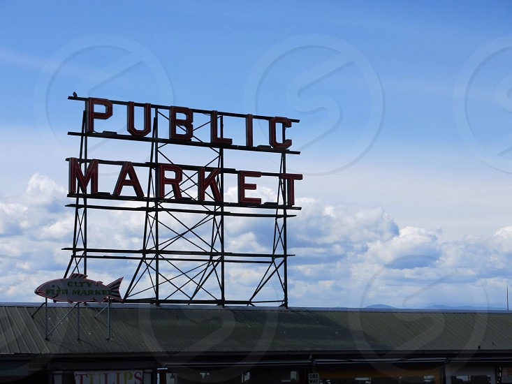 Public Market signboard under the blue sky photo