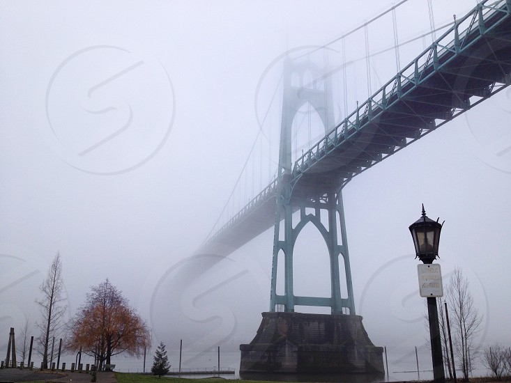 Majestic St Johns Bridge in Portland OR  photo