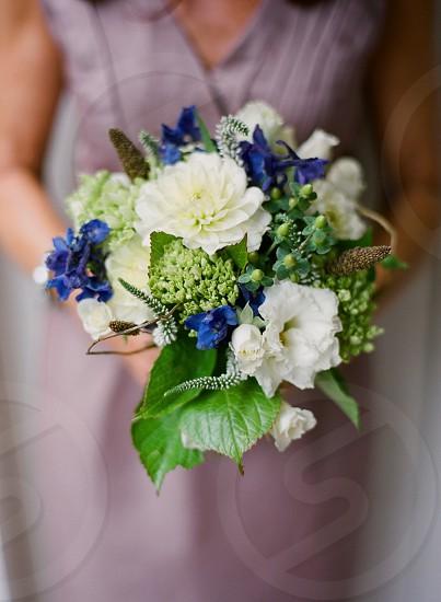 floral arrangement flowers pretty bouquet wedding white green blue rustic elegant destination wedding photo