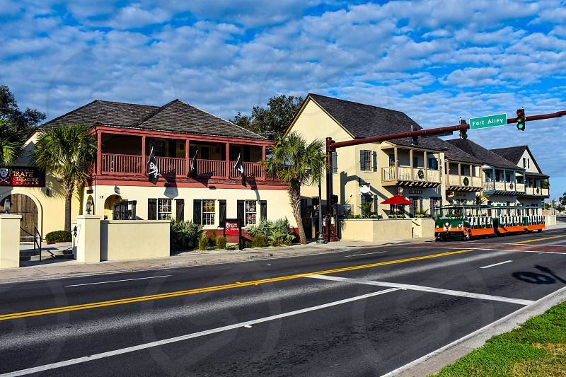 St. Augustine Florida. January 26  2019 . Trolley Tour at Old Town area in Florida's Historic Coast . photo