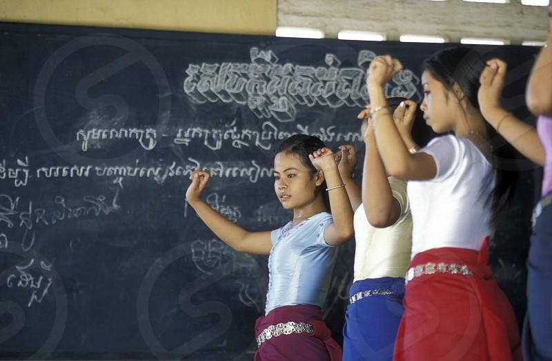a apsara dance school in the city of phnom penh in cambodia in southeastasia.  photo