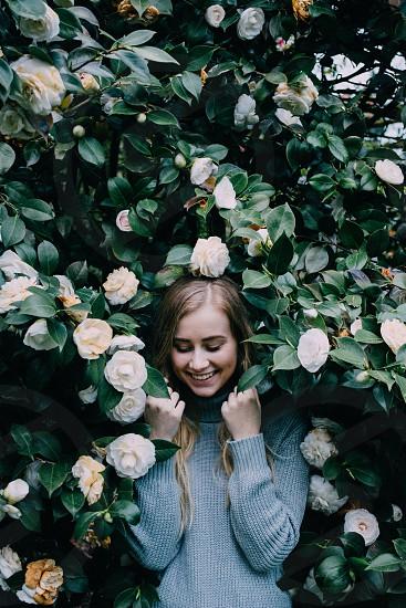 Springtime amongst the roses in Portland Oregon.  photo