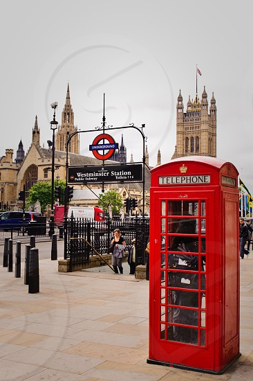 Westminster Station and Red Telephone Booth Underground London UK photo