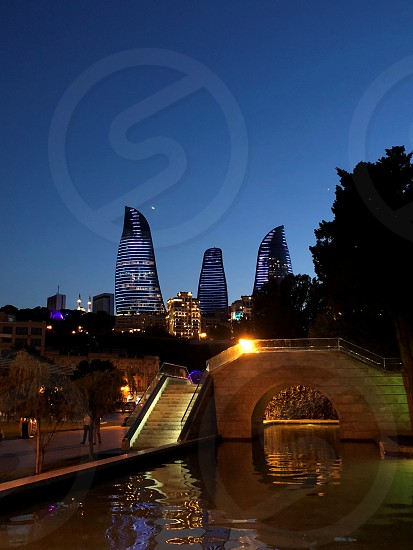 Flame Tower in the evening. Beautiful landscape. From a series of panorama Baku photo