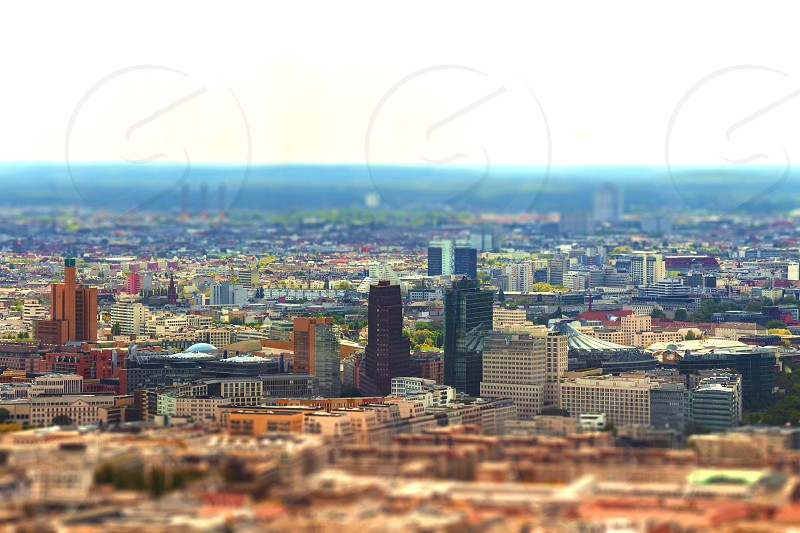 Aerial view of Berlin skyline with colorful buildings. with tilt-shift effect. photo