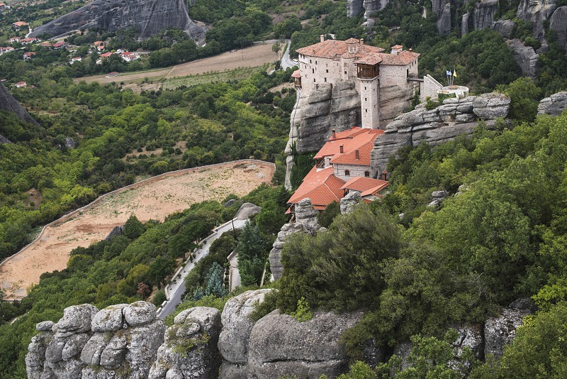 Meteora in Greece. Meteora is the monasteries on the top of the rock towers. Greece Meteora photo