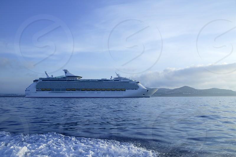 Cruise in Ibiza Island Mediterranean sunrise. Spain photo