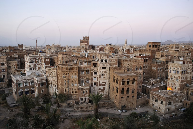 Cityscape in the old city of Sanaa Yemen. photo