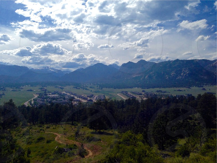 green juniper trees and mountain ranges photo