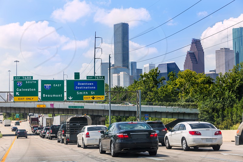 Houston Fwy traffic 10 Interstate in Texas USA US photo