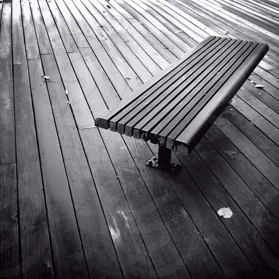 brown wooden bench photo