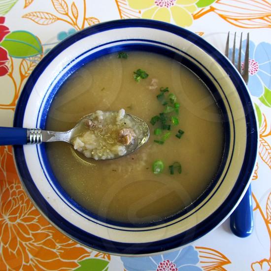 Bantan european soup blue and white bowl blue spoon and fork photo