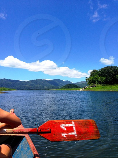 Canoeing on Lago de Yojoa Honduras. photo