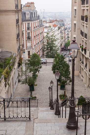 Montmartre staircase and street lights in Paris France photo