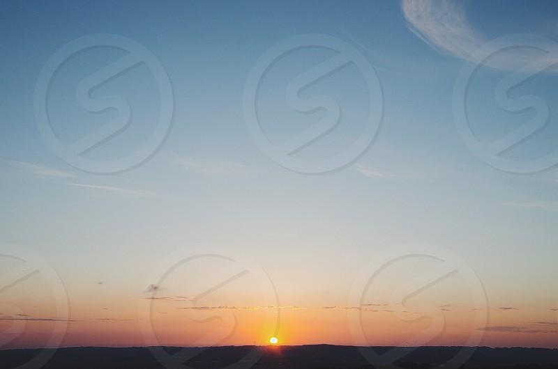 Orange sunrise landscape.  photo