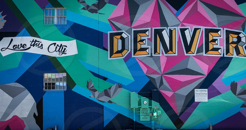Colorful streetart graffiti and murals in downtown Denver photo