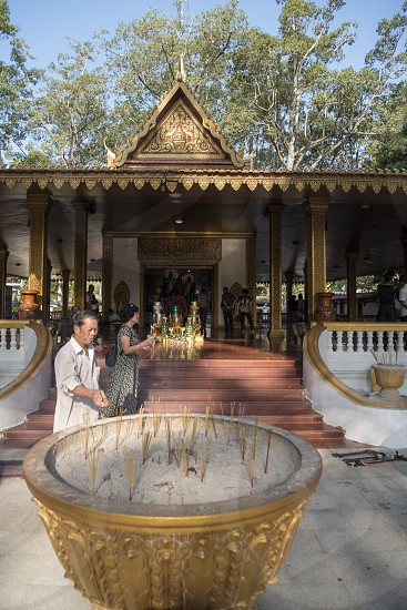 the Preah Angchek or Preah Ang Chorm Shrine in the city of Siem Reap in northwest of Cambodia.   Siem Reap Cambodia November 2018 photo