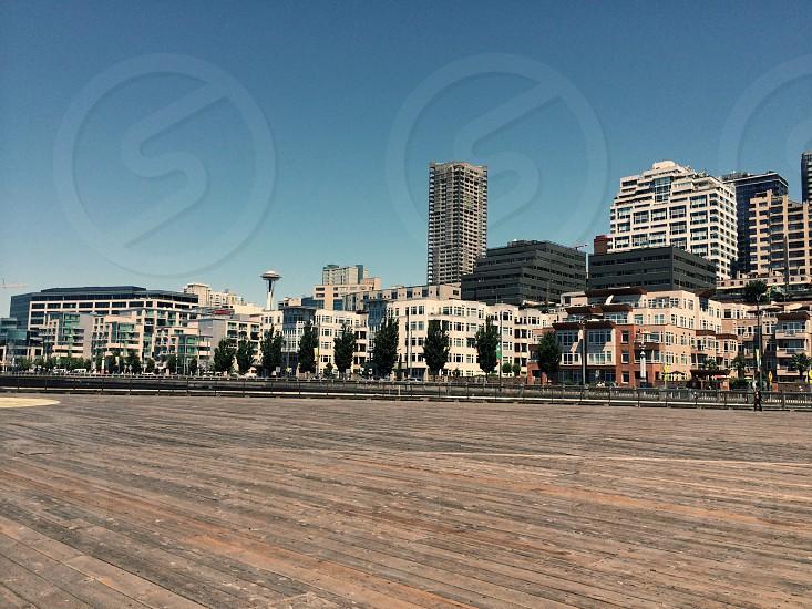 Cityscape Seattle Dock boardwalk buildings urban photo