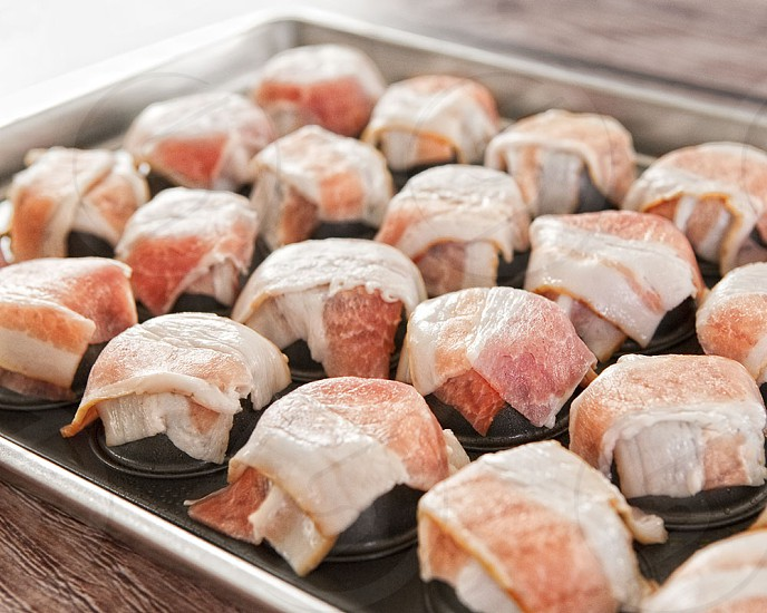 Preparation of bacon cups. photo
