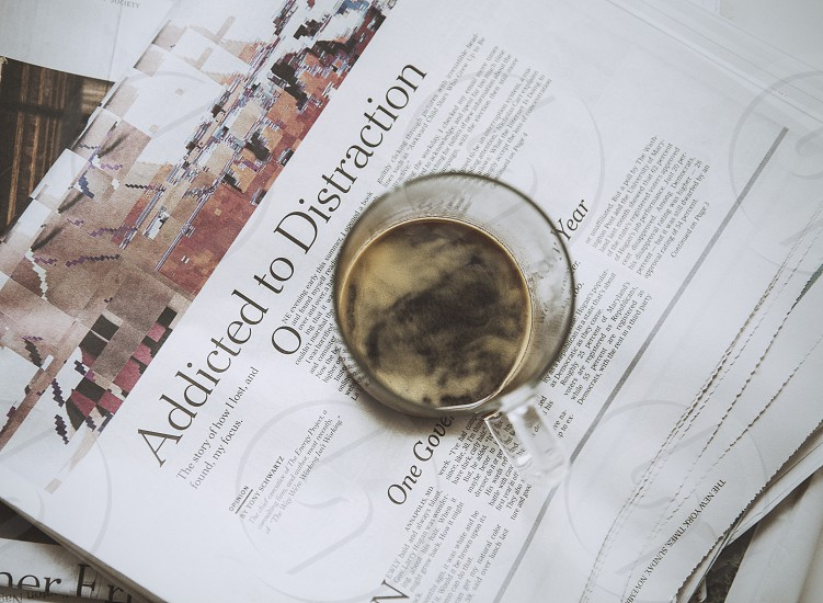 news newspaper paper new york times nyt new york journalism journalist coffee espresso cup mug glass transparent crema read reading sunday  photo