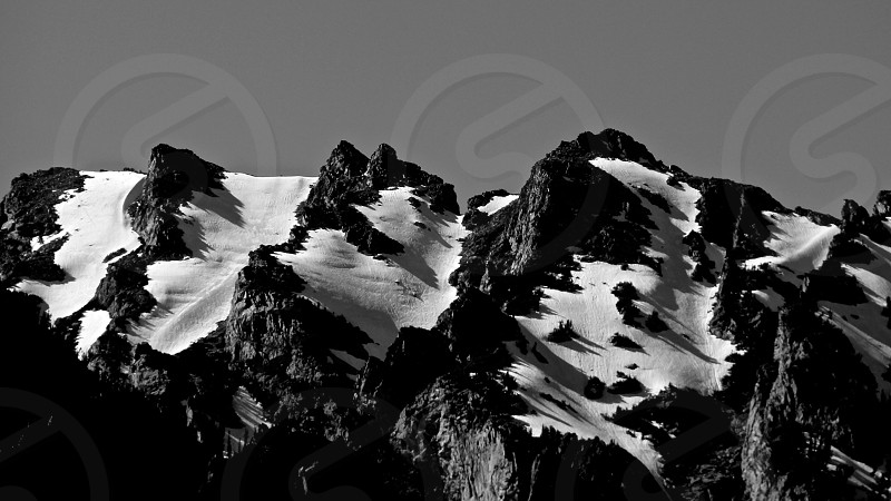 Grand Tetons Black and White right before sunset photo
