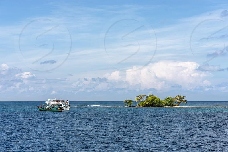 PHU QUOC VIETNAM - NOVEMBER 16 2017: Sea walk on a boat to uninhabited island photo