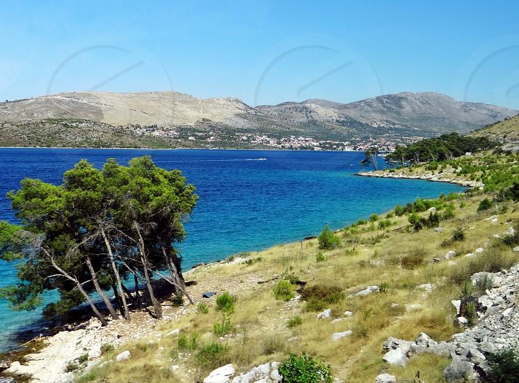Croatia landscape countryside blue ocean Adriatic photo