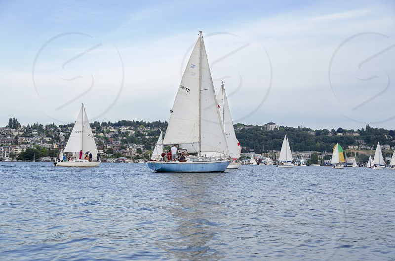 A sailboat regatta on Lake Union in Seattle. photo