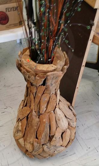 wood flower vase photo