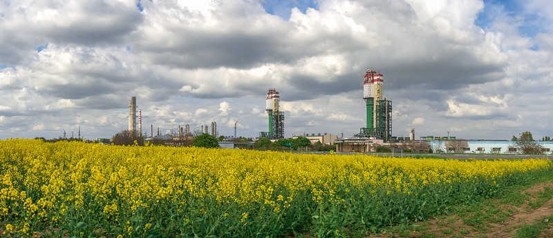 Odessa Ukraine - 05.09.2019. Panoramic view of Odessa Port Plant the chemical manufacturing company on a Black Sea in Ukraine photo